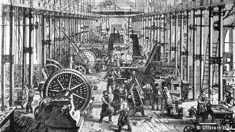People at work in a factory of the Richard Hartmann tool-making company in 1878