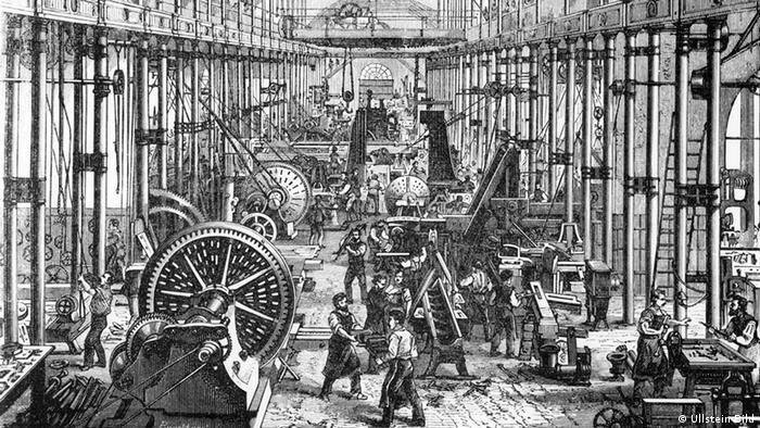 Blick in den Maschinensaal der Werkzeugfirma Richard Hartmann im Jahr 1878, Foto: Ullstein Bild