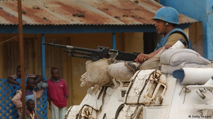 A UN armored personnel carrier in 2003 in Bunia, the capital of Ituri province in the DRC