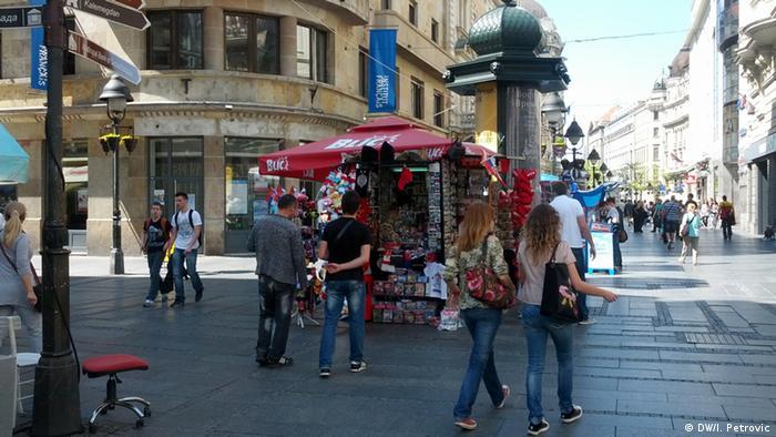 A pedestrian street in central Belgrade, Serbia
