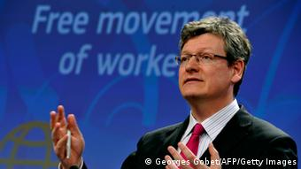 EU commissioner for Employment, Social Affairs and Inclusion Laszlo Andor gives a press conference on the proposal for a Directive to make it easier for people to exercise their right to work in another Member State on April 26, 2013 at the EU Headquarters in Brussels. The European Commission presented measures to ensure free movement of workers and to clamp down on discrimination against migrants in the EU.AFP PHOTO / GEORGES GOBET (Photo credit should read GEORGES GOBET/AFP/Getty Images)