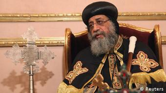 Coptic Pope Tawadros II, head of Coptic Orthodox church, talks to Reuters during an interview in Cairo, April 25, 2013. Egypt's Christians feel sidelined, ignored and neglected by Muslim Brotherhood-led authorities, who proffer assurances but have taken little or no action to protect them from violence, the pope said. In his first interview since emerging from seclusion after eight people were killed in sectarian violence between Muslims and Christians this month, the pope called official accounts of clashes at Cairo's Coptic cathedral on April 7 a pack of lies. Picture taken April 25, 2013. To match Interview EGYPT-POPE/ REUTERS/Asmaa Waguih (EGYPT - Tags: RELIGION)