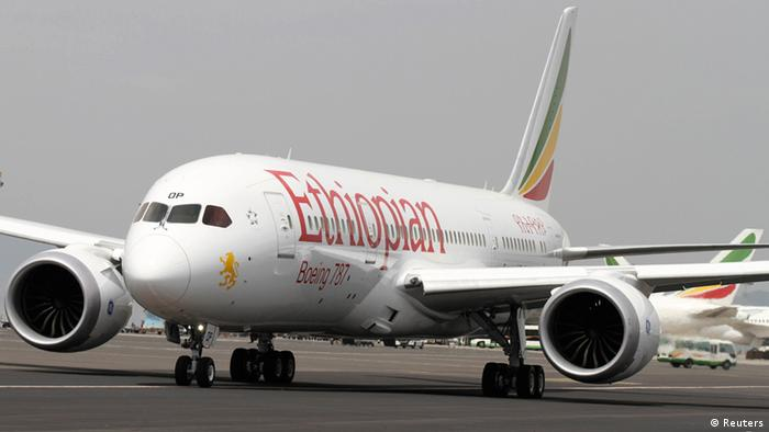An Ethiopian Airlines' 787 Dreamliner prepares for departure from the Bole International Airport in Ethiopia's capital Addis Ababa, April 27, 2013. Ethiopian Airlines on Saturday became the world's first carrier to resume flying Boeing Co's 787 Dreamliner passenger jets, landing the first commercial flight since the global fleet was grounded three months ago following incidents of overheating in the batteries providing auxiliary power. REUTERS/Tiksa Negeri (ETHIOPIA - Tags: TRANSPORT BUSINESS)