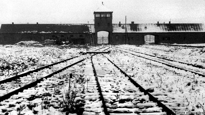Train tracks leading into Auschwitz in a black and white photo dating to the Holocaust