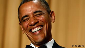 U.S. President Barack Obama laughs as comedian Conan O'Brien speaks during the White House Correspondents Association Dinner in Washington April 27, 2013. REUTERS/Kevin Lamarque (UNITED STATES - Tags: POLITICS ENTERTAINMENT PROFILE TPX IMAGES OF THE DAY)