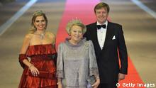 AMSTERDAM, NETHERLANDS - APRIL 29: (L-R) Princess Maxima of the Netherlands, Queen Beatrix of the Netherlands and Prince Willem-Alexander of the Netherlands arrive at a dinner hosted by Queen Beatrix of The Netherlands ahead of her abdication at Rijksmuseum on April 29, 2013 in Amsterdam, Netherlands. (Photo by Robin Utrecht - Pool/Getty Images)