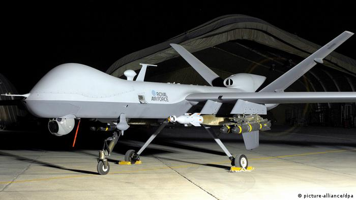 A handout photograph dated 21 June 2008 and made available by the British Ministry of Defence on 27 April 2013 showing a MQ-9 Reaper UAV from British Royal Air Force 39 Squadron waiting before taking off into the nights sky above Afghanistan. The British Ministry of Defence reports on 27 April 2013 that the British Royal Air Force has operated Reaper drones remotely controlled from RAF Waddington, Lincolnshire, England. They further state that the drones are currently being used for surveillance but could be called on to use their weapon systems if needed. (Photo: CROWN COPYRIGHT HANDOUT)