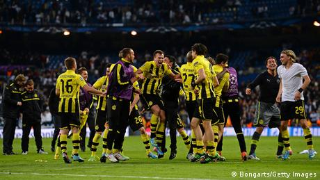 Borussia Dortmunds players celebrating in Madrid (Foto: Lars Baron/Bongarts/Getty Images)