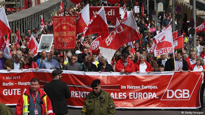 Gewerkschaften demonstrieren für gerechte Löhne am 1. Mai 2013 (Foto: Sean Gallup/Getty Images)