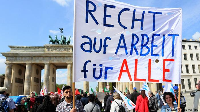 May Day demonstration at the Brandenburg Gate in Berlin
