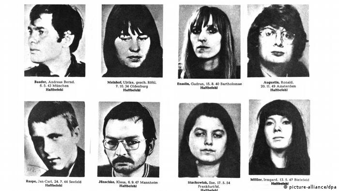Police photos of eight RAF members, 1970 (picture-alliance/dpa)