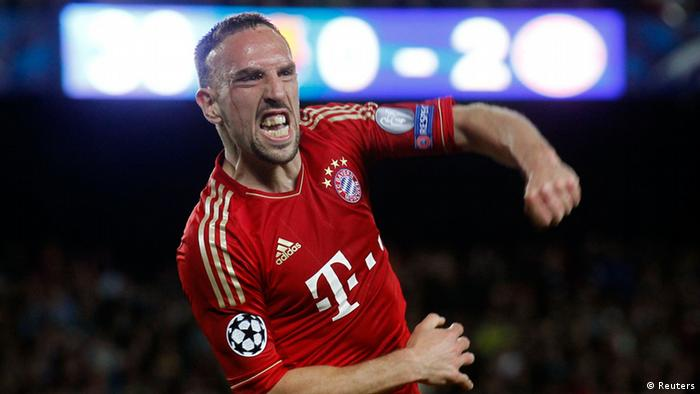 Bayern Munich's Franck Ribery celebrates after a goal was scored against Barcelona during their Champions League semi-final second leg soccer match at Camp Nou stadium in Barcelona May 1, 2013. REUTERS/Albert Gea (SPAIN - Tags: SPORT SOCCER)
