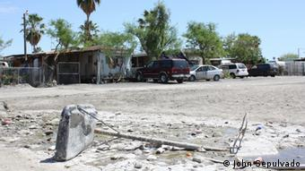 The pit at a mobile home park where sewage comes up from the ground. (Photo: DW/John Sepulvado)