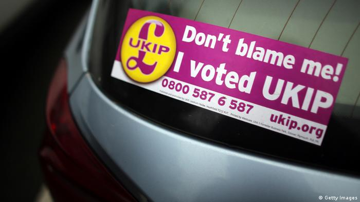 Stickers supporting the UKIP party are seen on car. (Photo by Matt Cardy/Getty Images)
