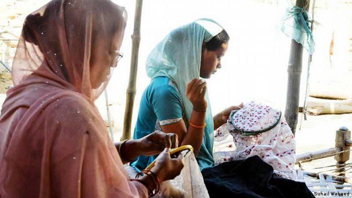 Chikan Sticken Lucknow Indien Handarbeit