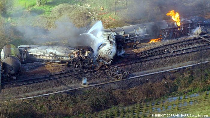 Aerial picture taken on May 4, 2013 of an exploded freight train on a track near Schellebelle, 20 kms east of Gent on May 4, 2013. Belgian authorities on May 4 evacuated nearly 300 people from their homes after several cars of a train carrying chemicals derailed, causing a major fire near the city of Gent. Nobody was hurt in the accident which happened around 2:00 am (0000 GMT) between the towns of Schellebelle and Wetteren, said Infrabel, the entity responsible for the Belgian railway network. AFP PHOTO / BELGA / BENOIT DOPPAGNE -Belgium Out- (Photo credit should read BENOIT DOPPAGNE/AFP/Getty Images)