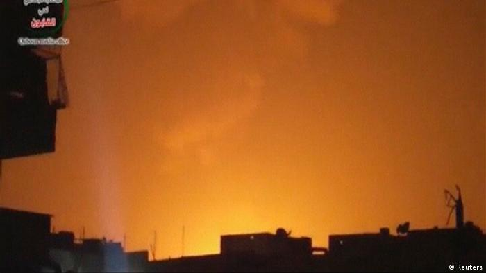 EDITOR'S NOTE: REUTERS CANNOT INDEPENDENTLY VERIFY THE CONTENT OF THE VIDEO FROM WHICH THIS STILL IMAGE WAS TAKEN The sky is lit up after an explosion at what Syrian state television reported was a military research centre in Damascus, in this still image taken from video obtained from a social media website by Reuters on May 5, 2013. Powerful explosions struck the outskirts of Damascus early on Sunday, sending columns of fire into the night sky, and Syrian state television said Israeli rockets had struck a military facility just north of the capital. An Israeli overnight strike in Syria targeted Iranian-supplied missiles to Lebanese guerrilla group Hezbollah, a Western intelligence source said on Sunday. Israel declined to comment on the attack. REUTERS/Social Media/Handout via Reuters TV (SYRIA - Tags: CONFLICT MILITARY) ATTENTION EDITORS � THIS PICTURE WAS PROVIDED BY A THIRD PARTY. REUTERS IS UNABLE TO INDEPENDENTLY VERIFY THE AUTHENTICITY, CONTENT, LOCATION OR DATE OF THIS IMAGE. NO SALES. NO ARCHIVES. FOR EDITORIAL USE ONLY. NOT FOR SALE FOR MARKETING OR ADVERTISING CAMPAIGNS. THIS PICTURE IS DISTRIBUTED EXACTLY AS RECEIVED BY REUTERS, AS A SERVICE TO CLIENTS