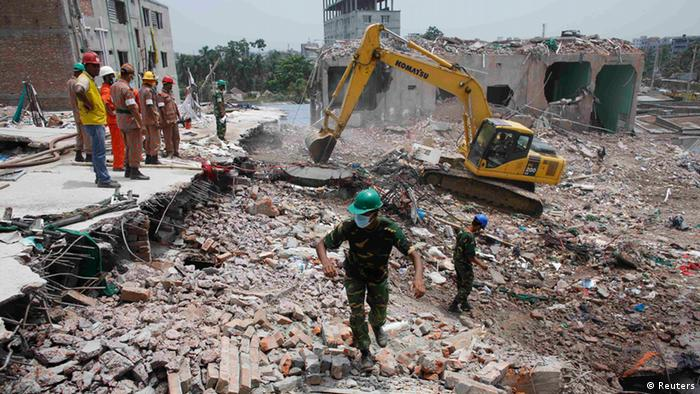 Rubble of the collapsed Dhaka garment factory. Photo: REUTERS/Andrew Biraj.