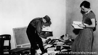 Nazi SA officers rummages through confiscated books ahead of the burning on May 10, 1933