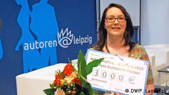 Ina Körner receiving the autoren@leipzig Award 2013 at the Leipzig Book Fair