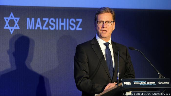 German Foreign Minister Guido Westerwelle delievers his speech during the 14th Plenary Assembly of the World Jewish Congress (WJC) in Budapest on May 6, 2013. The WJC opened in Budapest with hundreds of representatives of worldwide Jewish communities in attendance, even as Hungary has come under fire for rising anti-Semitism. AFP PHOTO / ATTILA KISBENEDEK (Photo credit should read ATTILA KISBENEDEK/AFP/Getty Images)