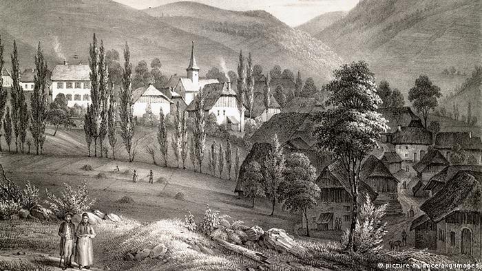 Frankreich Elsass Lithographie von Waldersbach