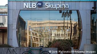 Main public entrance of the headquarters of Slovenia's Nova Ljubljanska Banka (NLB) (photo: Jure Makovec/AFP/Getty Images)