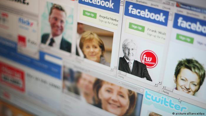Internetseiten der großen deutschen Parteien und Profile der Spitzenkandidaten für die Bundestagswahl 2009 (Foto: dpa)