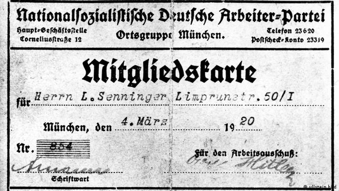 Cartão de filiação no partido de Hitler