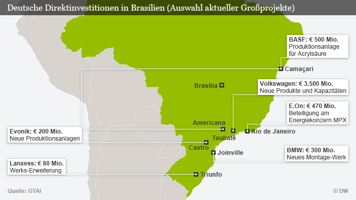 Karte auf denen die Standorte eingezeichnet sind. Quelle: GTAI