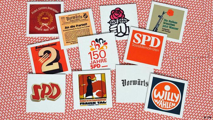 Verschiedene Memory-Karten aus 150 Jahre SPD Geschichte liegen bunt durcheinandergemischt auf der Rückseite der anderen Memory-Karten, Foto: Per Henriksen /DW08.05.2013 /