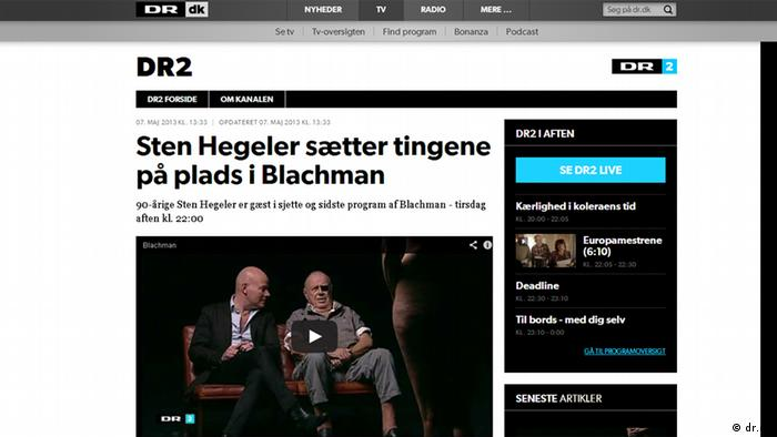 Screenshot of the Blachman TV show on the website of the Danish Broadcasting Corporation http://www.dr.dk/TV/kanal/DR2/Artikler/20130507132719.htm