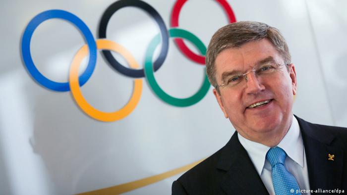 Thomas Bach, on 09.05.2013 in Frankfurt am Main (Hessen) standing in front of the Olympic-Logo. Foto: Frank Rumpenhorst/dpa +++(c) dpa - Bildfunk+++