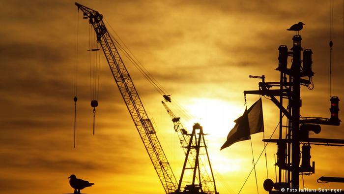 Cranes at the port of Hamburg, Germany