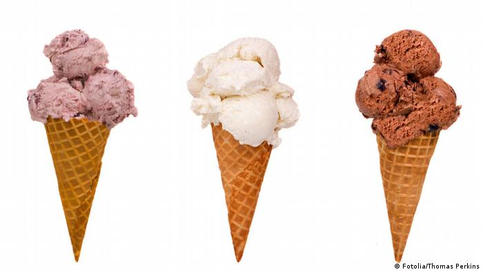 Eis Waffel Schokolade Erdbeere Vanille