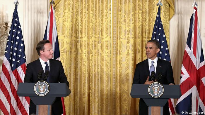 WASHINGTON, DC - MAY 13: U.S. President Barack Obama (R) and British Prime Minister David Cameron hold a joint news conference in the East Room of the White House May 13, 2013 in Washington, DC. The two leaders discussed the prospect of an European Union-United States trade deal and the ongoing civil war in Syria. During his three-day visit to the United States, Cameron will also be briefed by the FBI about the Boston Marathon bombings and will travel to New York to take part in United Nations talks on new development goals. Photo: Alex Wong/Getty Images