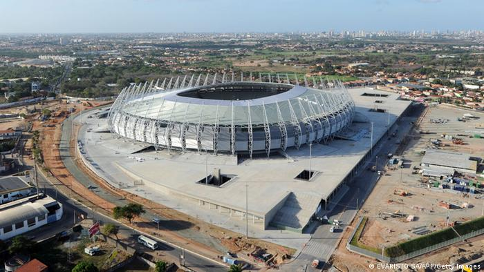 Aerial view of the Arena Castelao Stadium, in Fortaleza, Ceara State -northeastern Brazil- on December 10, 2012. The Arena Castelao is the first stadium ready for the eight-nation Confederations Cup next June 2013. The competition which is a dress rehearsal for the the 2014 World Cup will notably bring together four former world champions. AFP PHOTO / Evaristo SA (Photo credit should read EVARISTO SA/AFP/Getty Images)