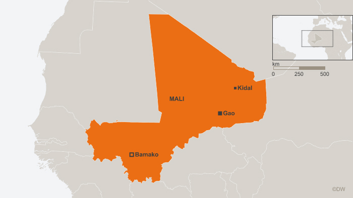 Map of Mali showing Bamako, Kidali and Gao