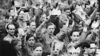 A Communist youth rally in East Berlin, Germany, 6th February 1950. They are waving the flag of the FDJ or Freie Deutsche Jugend, the Free German Youth. (Photo by FPG/Getty Images)