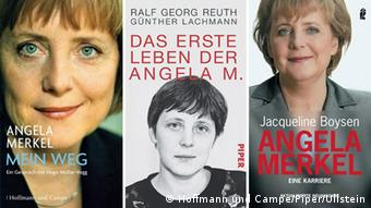 Book covers of the Merkel's biographies.