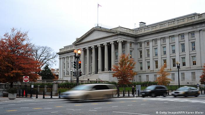 US Treasury Building in Washington, DC. Photo credit should read KAREN BLEIER/AFP/Getty Images