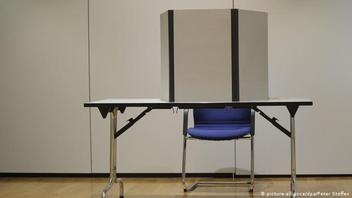 An empty voter booth