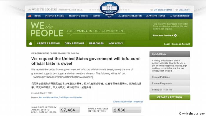 Screenshot We the people mit Tofu-Petition