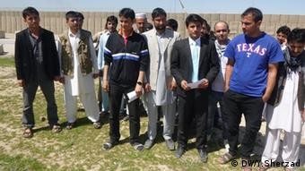 Interpreters gathered to protest their treatment by the German Armed Forces in Kunduz.All rights reserved by DW.