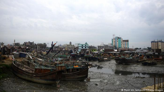 Fishing boats are tied up in the harbour of Chittagong on May 15, 2013 during preparations for the expected arrival of Cyclone Mahasen. Cyclone Mahasen is moving northeastwards over the Bay of Bengal and expected to make landfall on May 17 morning north of the Bangladeshi city of Chittagong, sparing Myanmar's restive Rakhine state from its full fury, the UN said. AFP PHOTO/ Munir uz ZAMAN (Photo credit should read MUNIR UZ ZAMAN/AFP/Getty Images)