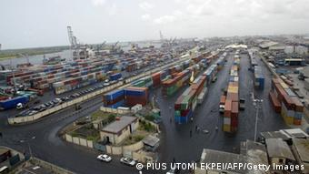 TO GO WITH AFP STORY BY JOEL OLATUNDE AGOI (FILES) A file photo taken on April 12, 2005 shows the Apapa Terminal parked full with containers in the main Nigerian seaport in Lagos. Since January 2009, the Nigerian Ports Authority (NPA) has been battling to clear Lagos port of congestion, which has been building up since October 2008 and which has led to several thousand containers being abandoned there. Every month, an average of 70 vessels -- container ships and oil tankers -- arrive in the Lagos port in addition to thousands of overtime containers abandoned by importers and customs agents because of complaints over high charges. AFP PHOTO / PIUS UTOMI EKPEI (Photo credit should read PIUS UTOMI EKPEI/AFP/Getty Images)