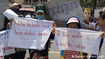 Two garment workers protesting in Phnom Penh
