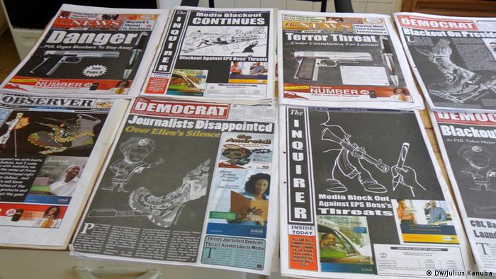 Frontpages of a selection of Liberian newspapers. Photo: Julius Kanubah