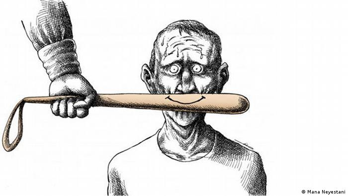 A caricature of a baseball bat held in front of a person's mouth; a smile is drawn on the bat