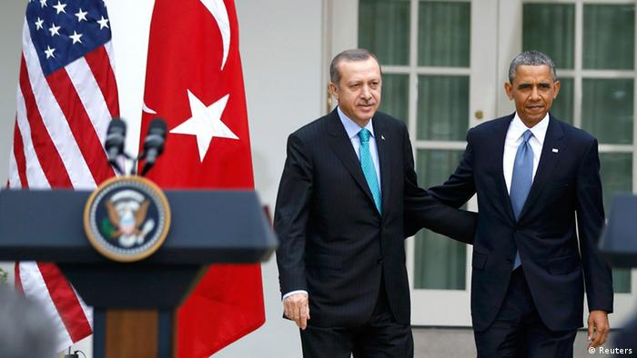 U.S. President Barack Obama (R) and Turkish Prime Minister Recep Tayyip Erdogan arrive for a joint news conference in the White House Rose Garden in Washington, May 16, 2013. (Photo: REUTERS/Jason Reed )